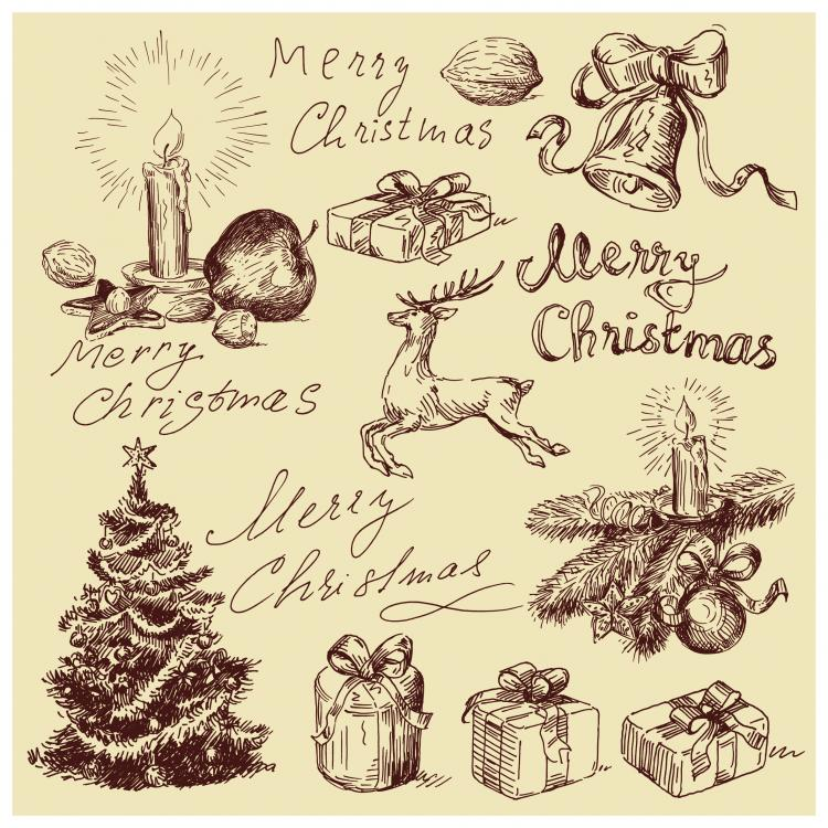 free vector Vintage christmas illustration vector