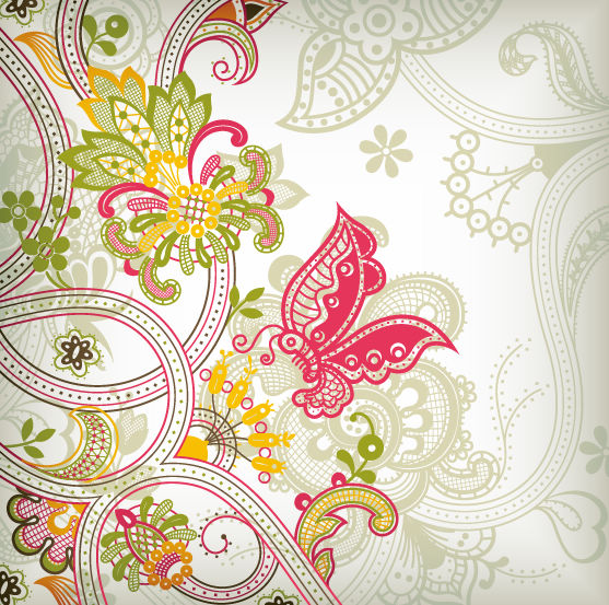 free vector Vintage Flower Pattern Background Vector Art