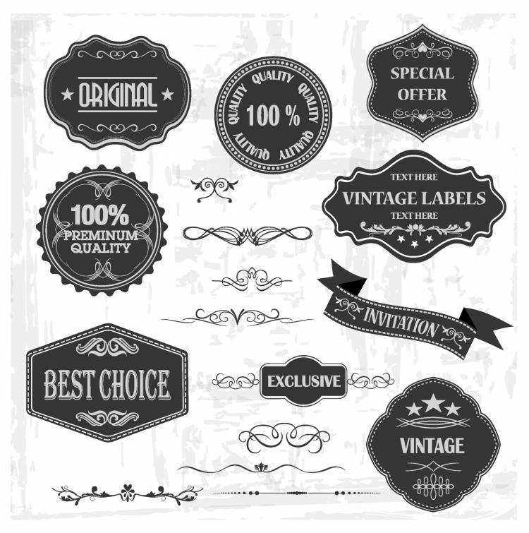 Vintage labels and ornaments (132944) Free AI, EPS ...