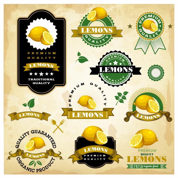 free vector Vintage lemon labels