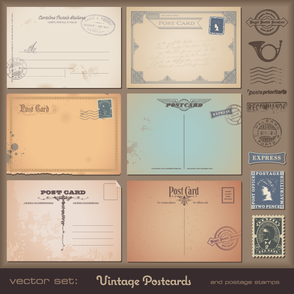 free vector Vintage postcards and postage stamps 02 vector
