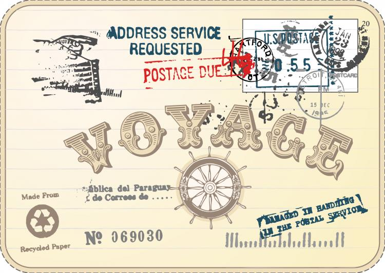 free vector Vintage postcards and stamps 03 vector