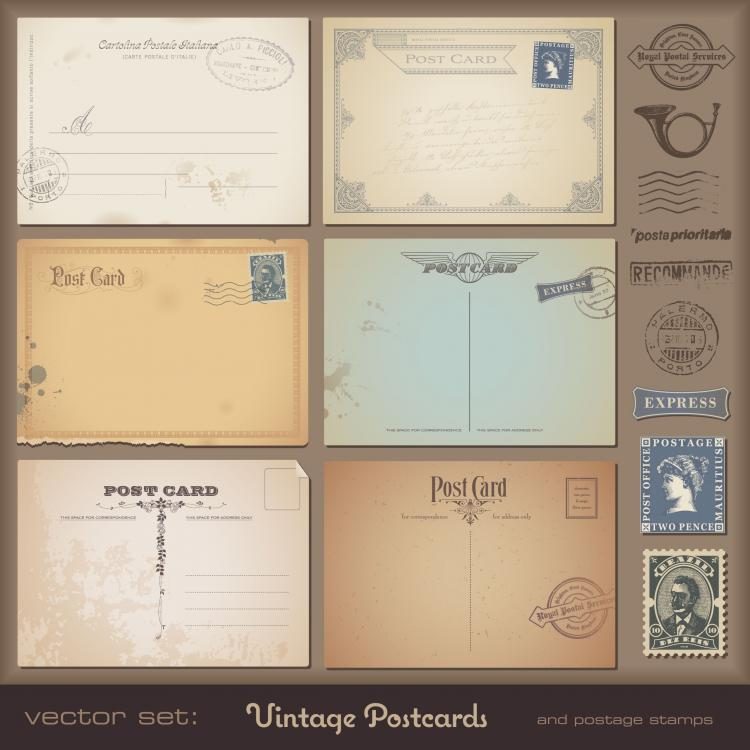 free vector Vintage postcards and stamps 06 vector