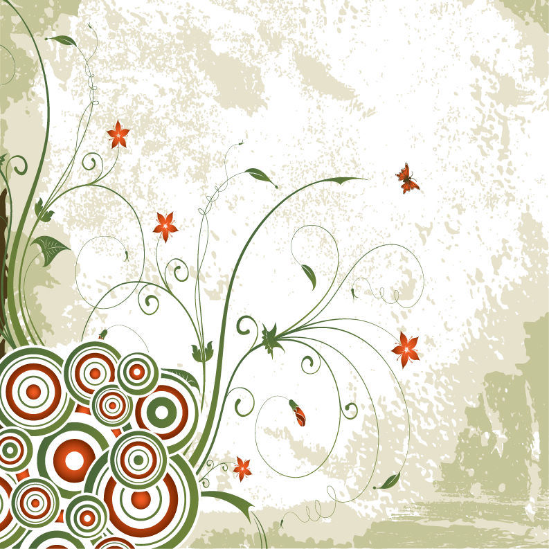 free vector Vintage Swirl Floral Background Vector