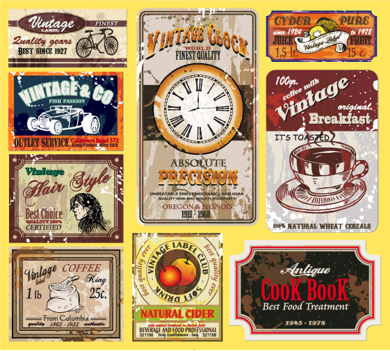 free vector Vintage wine label collection 01 vector