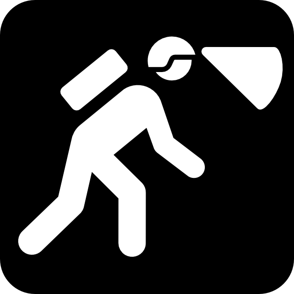 free vector Walking In The Dark With Light In Helmet clip art