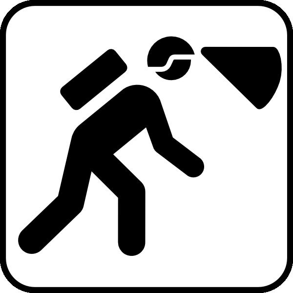 free vector Walking In The Dark With Light In Helmet clip art