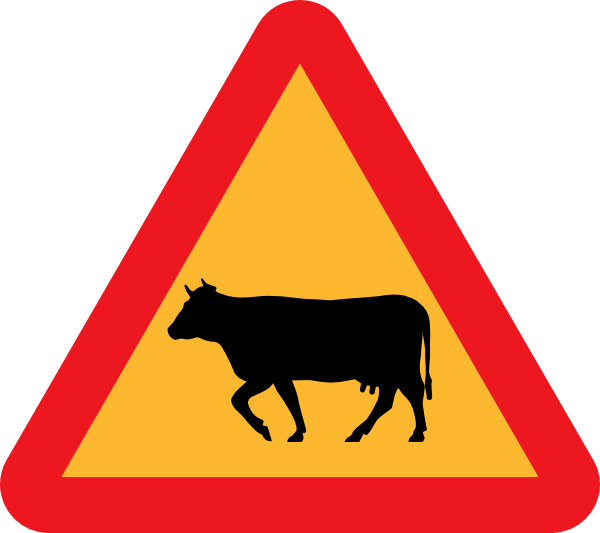free vector Warning Cows Roadsign clip art