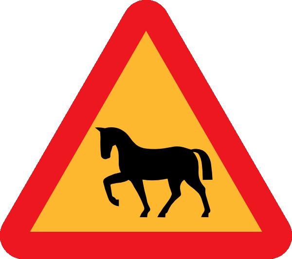 free vector Warning Horses Road Sign clip art