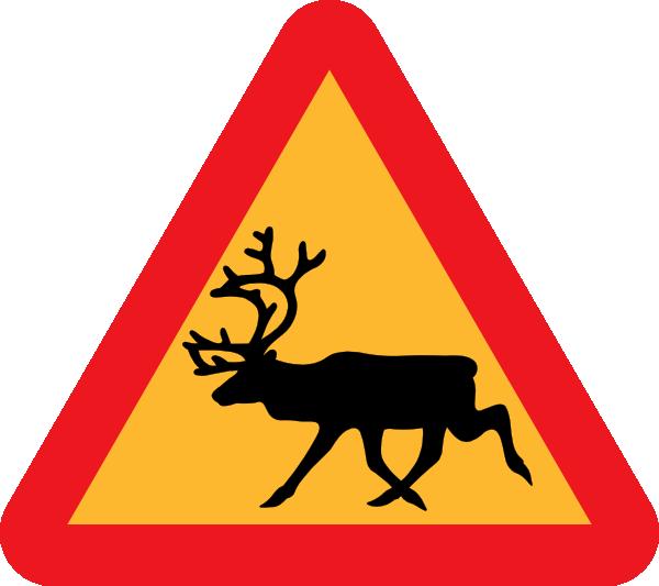 free vector Warning Reindeer Roadsign clip art