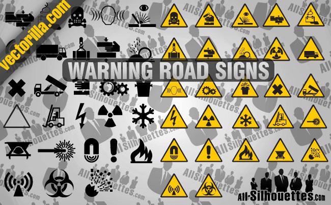 free vector Warning Road Signs