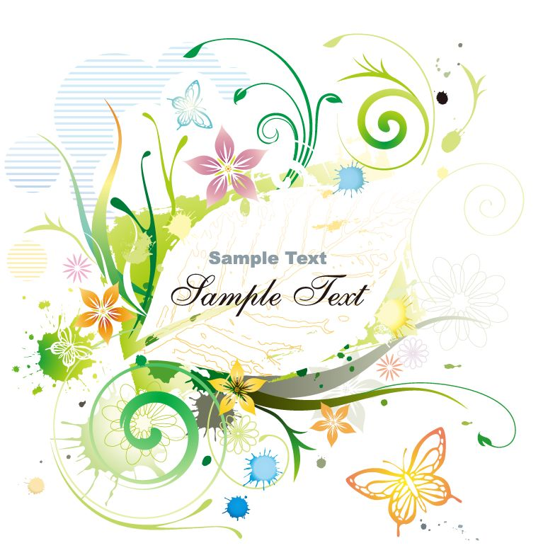 Water Color Floral Frame Vector illustration Free Vector / 4Vector