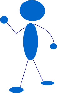 waving blue stick man clip art free vector / 4vector
