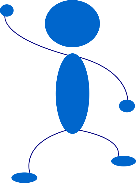 free vector Waving Blue Stick Man clip art