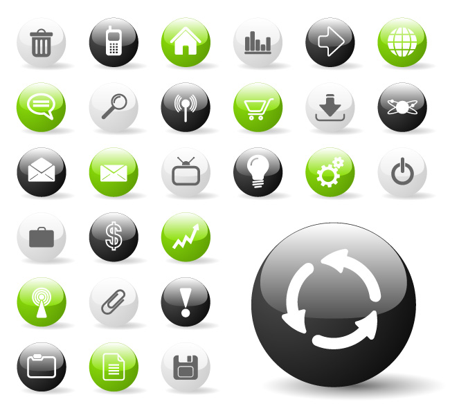 free vector Web2.0 web design round with a square icon icon vector material