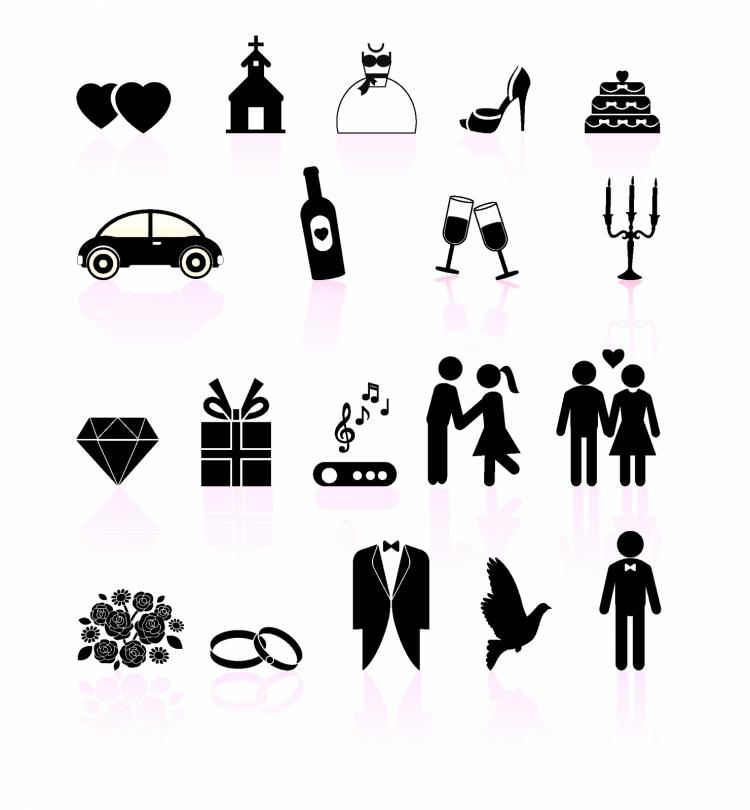 free vector Wedding day black and white set icons