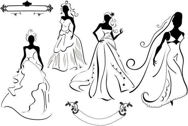 free vector Wedding dress silhouette vector