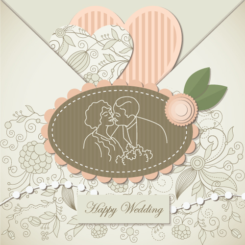 free vector Wedding label background 02 vector