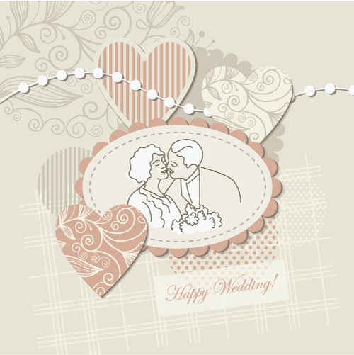 free vector Wedding label background 04 vector