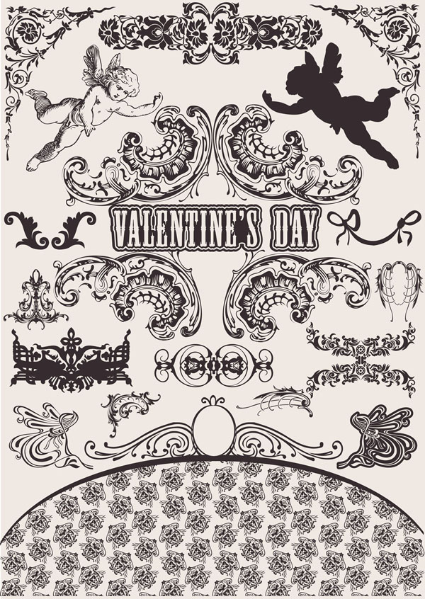 free vector Wedding lace pattern vector