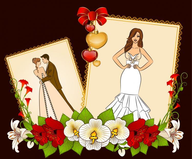 free vector Wedding postcards 05 vector