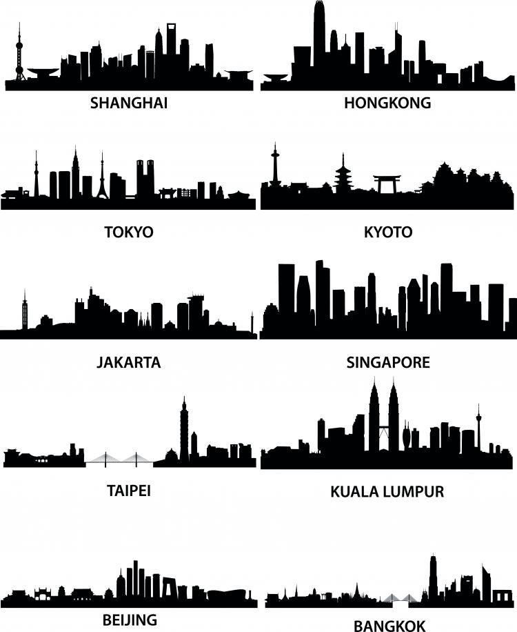 Wellknown city silhouette vector Free Vector / 4Vector