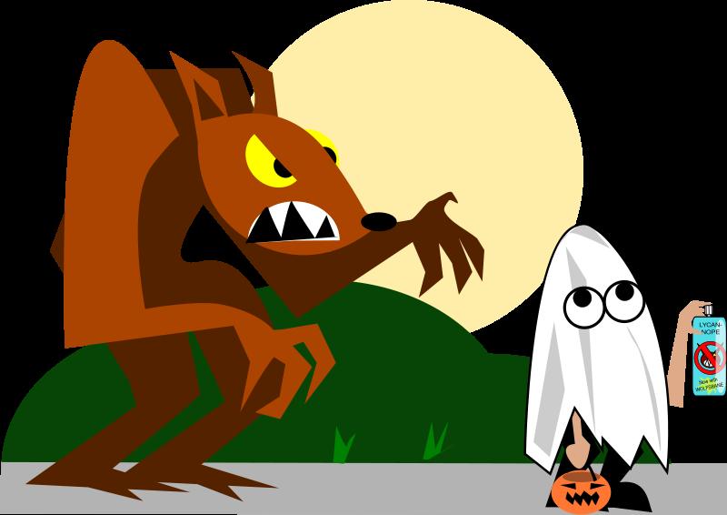 free vector Werewolf_vs_kid