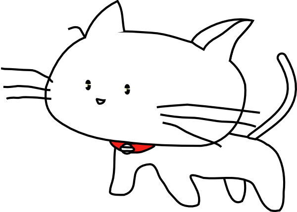 free vector White Cartoon Cat clip art