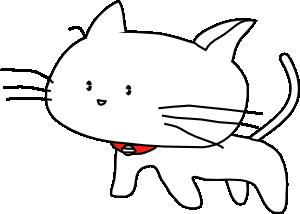 free vector White Cartoon Cat clip art