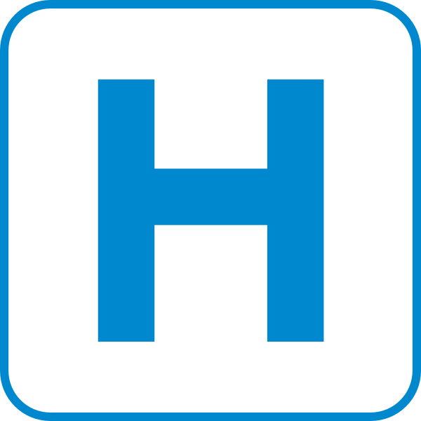 free vector White Hospital Road Sign clip art
