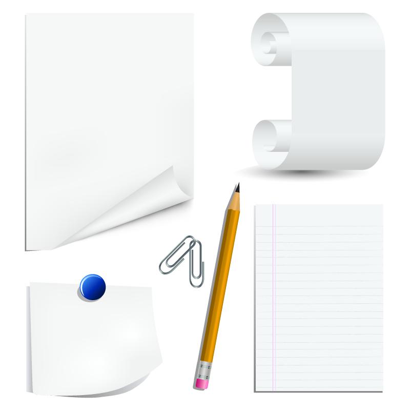 free vector White paper clip and pencil clip art