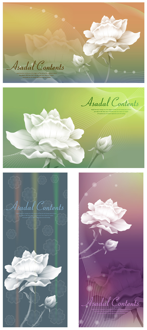 free vector White roses and vector fantasy background