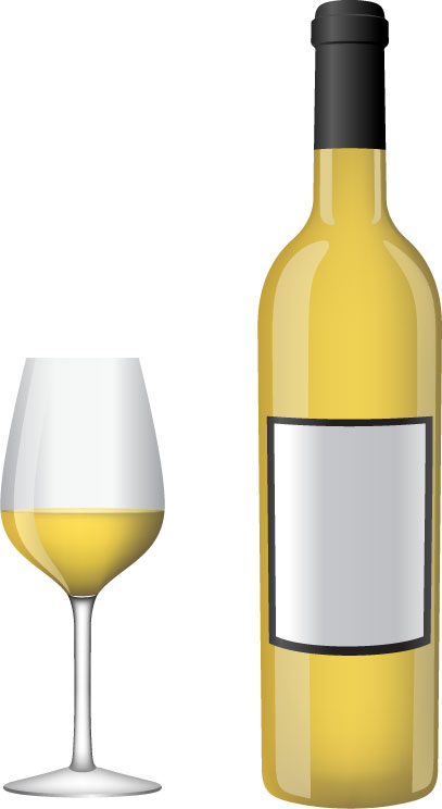White wine bottle and glasses vector Free Vector / 4Vector