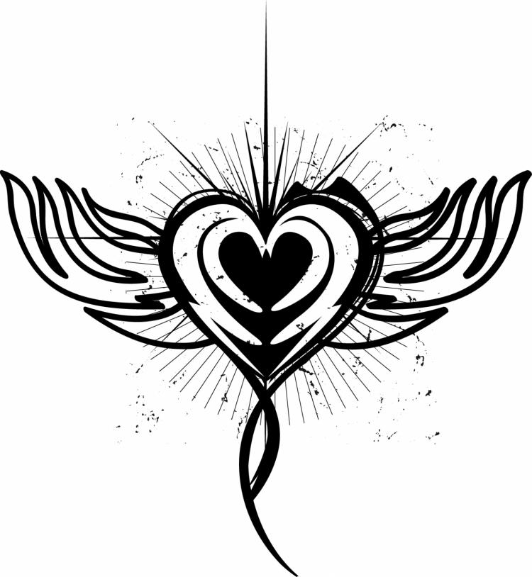 free vector Winged heart tattoo