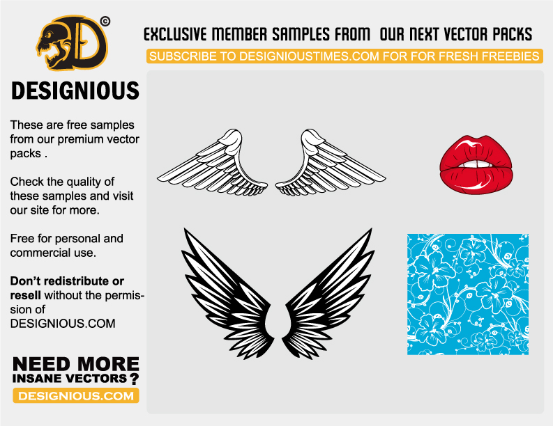 free vector Wings of the mouth pattern vector