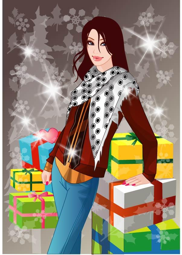 free vector Winter 10 women vector