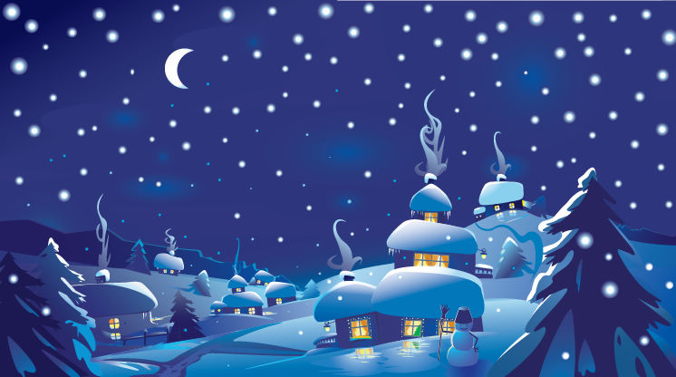 free vector Winter Christmas Scene Vector Illustration