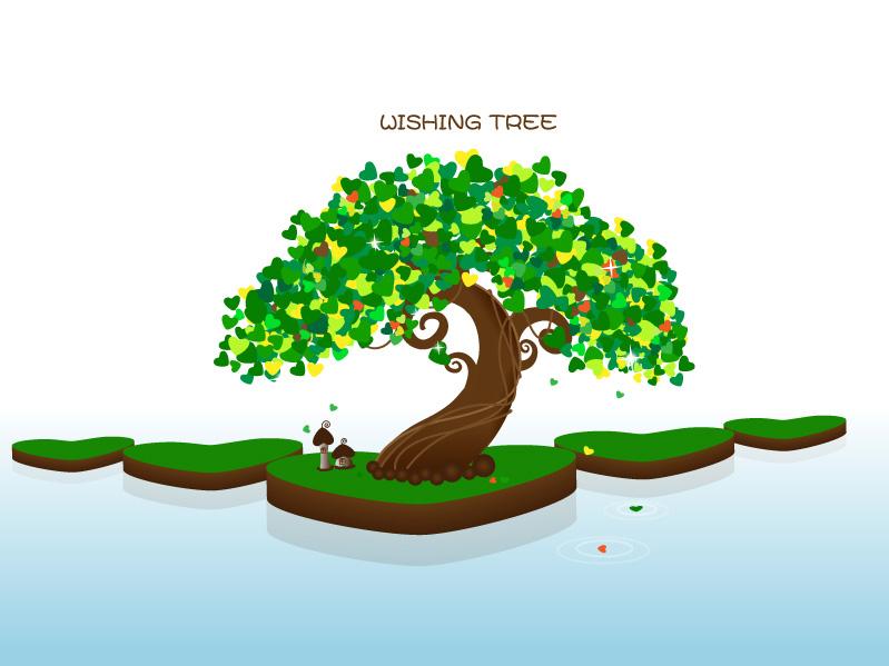 free vector Wishing tree vector