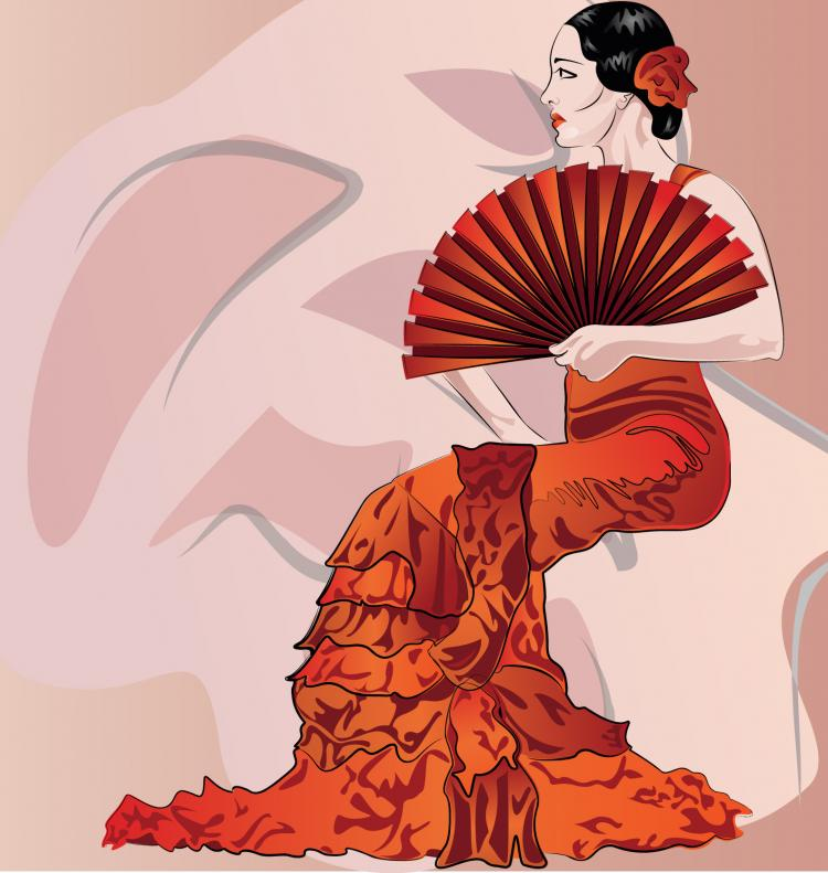 free vector Woman holding folding fan Vector material