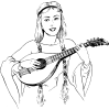 free vector Woman Playing Lute clip art