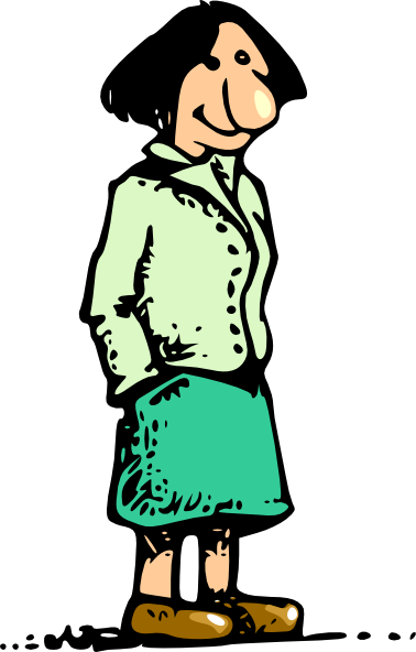 free vector Woman Standing Smiling Cartoon clip art