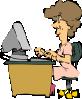 free vector Woman Using A Computer clip art