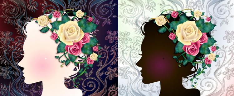 free vector Woman with flowers vector 1