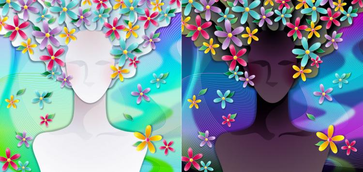 free vector Woman with flowers vector 3