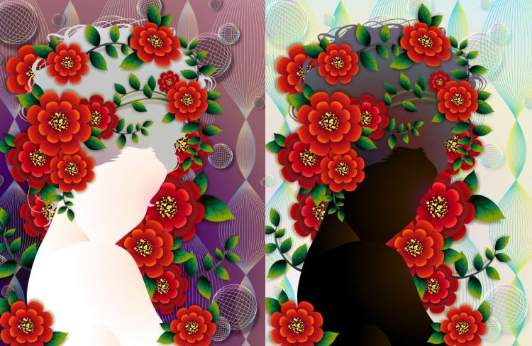 free vector Woman with flowers vector 4