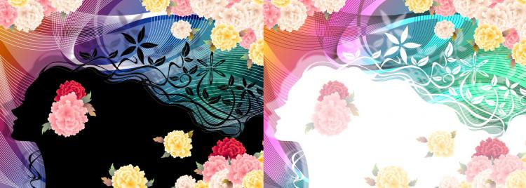 free vector Woman with flowers vector 5
