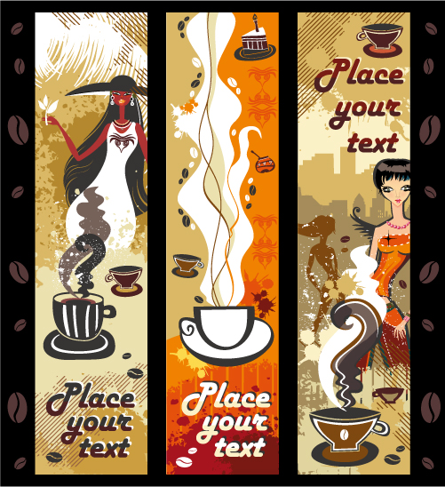 free vector Women and coffee theme vector