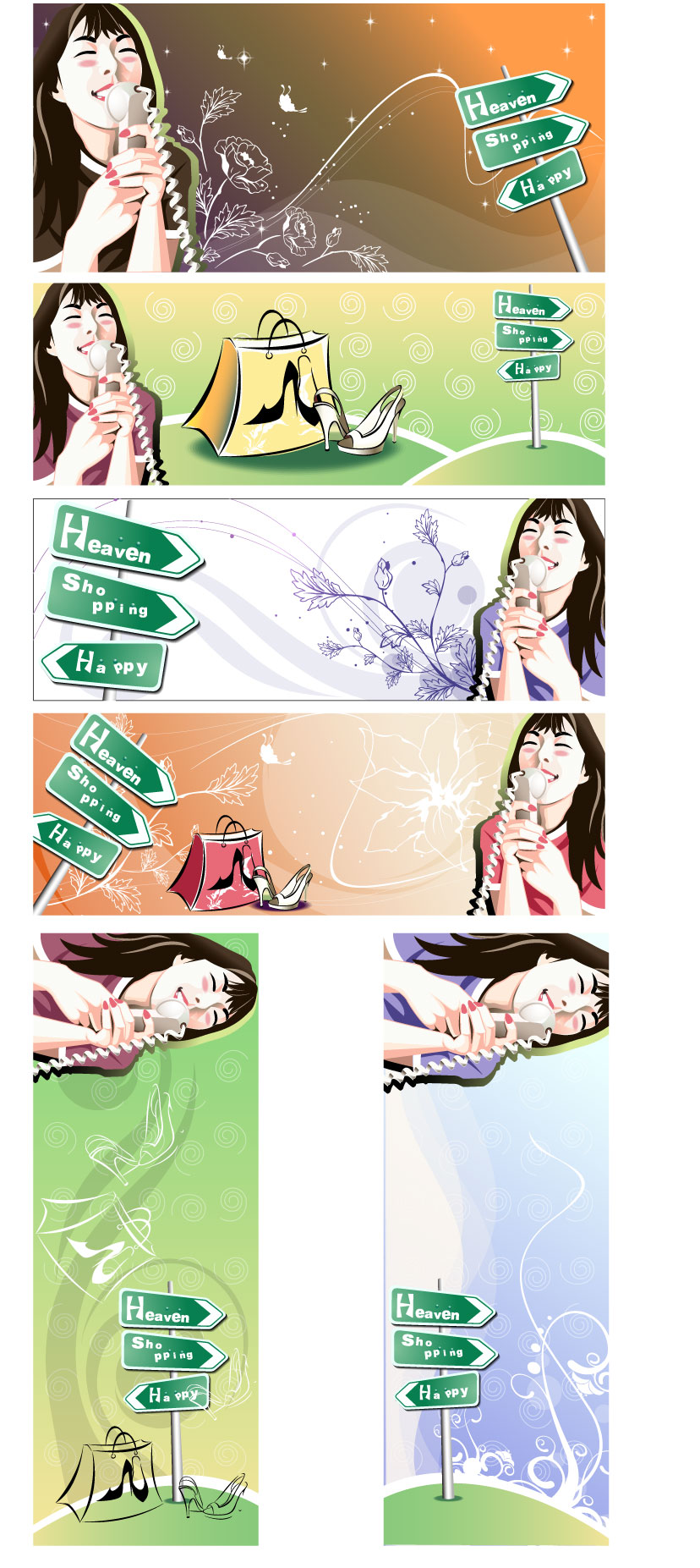 free vector Women shopping theme vector