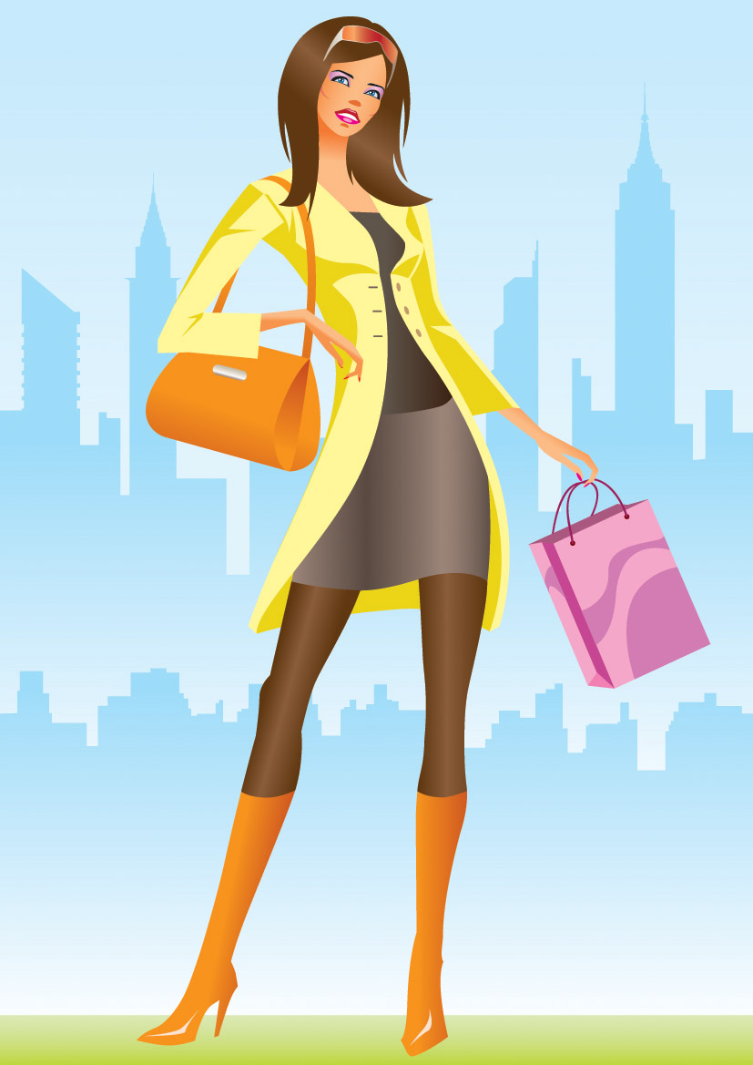 free vector Women vector fashion shopping