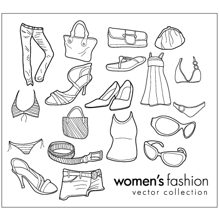 free vector Women wear clothing line drawing vector goods